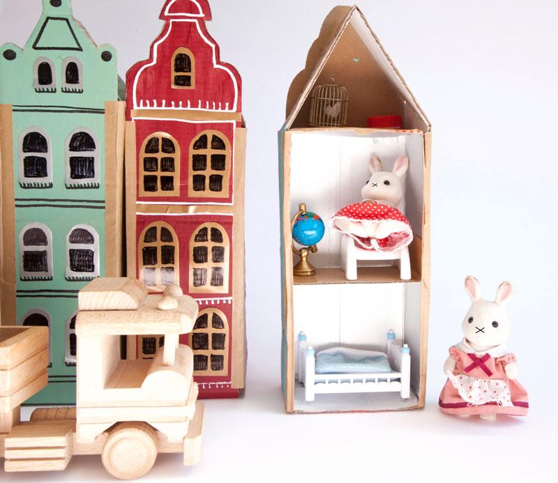 kamieniczki kartonowe domki dla zabawek